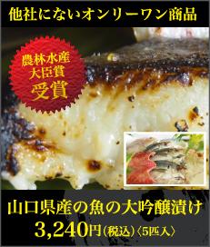 農林水産大臣賞受賞!山口県産の魚の大吟醸漬け